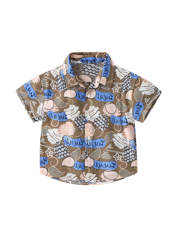 【18M-7Y】Boys' Personality Printed Short-sleeved Shirt