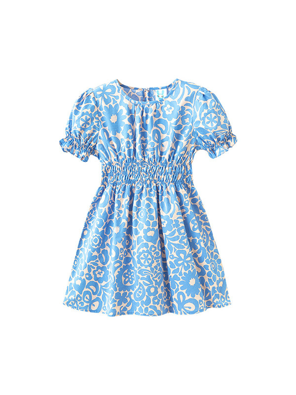 【3Y-13Y】Girls Floral Puff Sleeve Cotton Pleated Dress