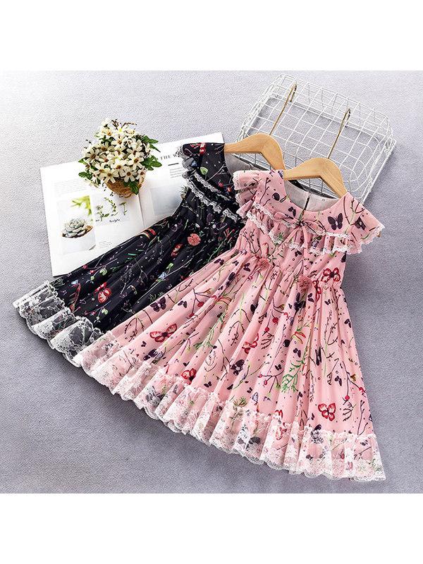 【18M-7Y】Girls Vest Chiffon Sweet Princess Dress