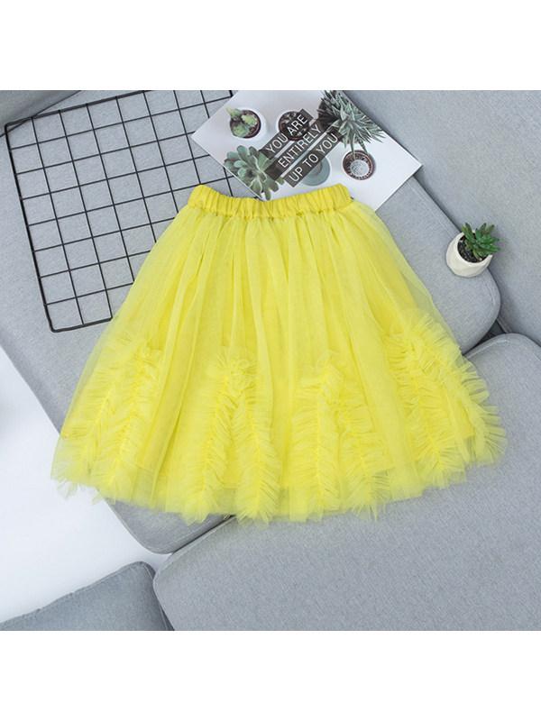 【3Y-13Y】Girls Sweet Mesh Pleated Puffy Skirt