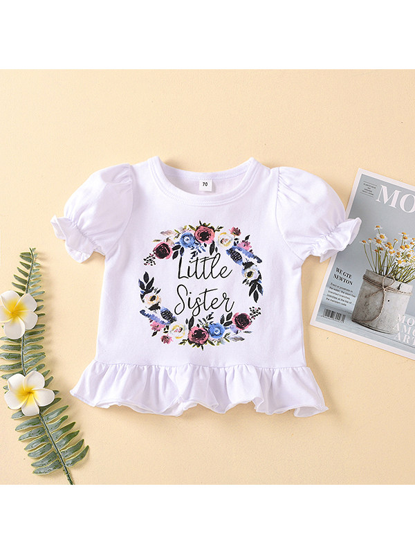 【12M-5Y】Girls Sisters Letter Flower Print Puff Sleeve Short Sleeve Shirt