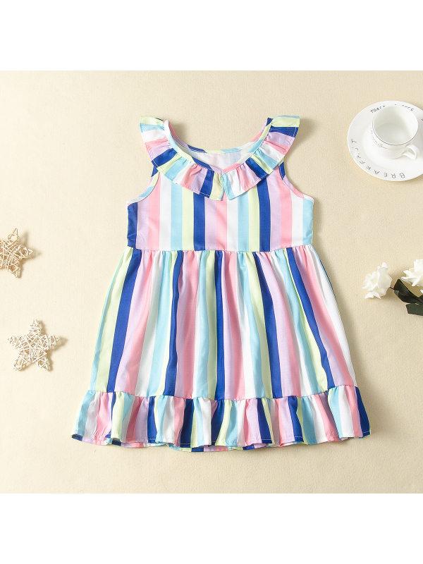 【18M-7Y】Girls' Lotus Leaf Collar Color Sleeveless Dress
