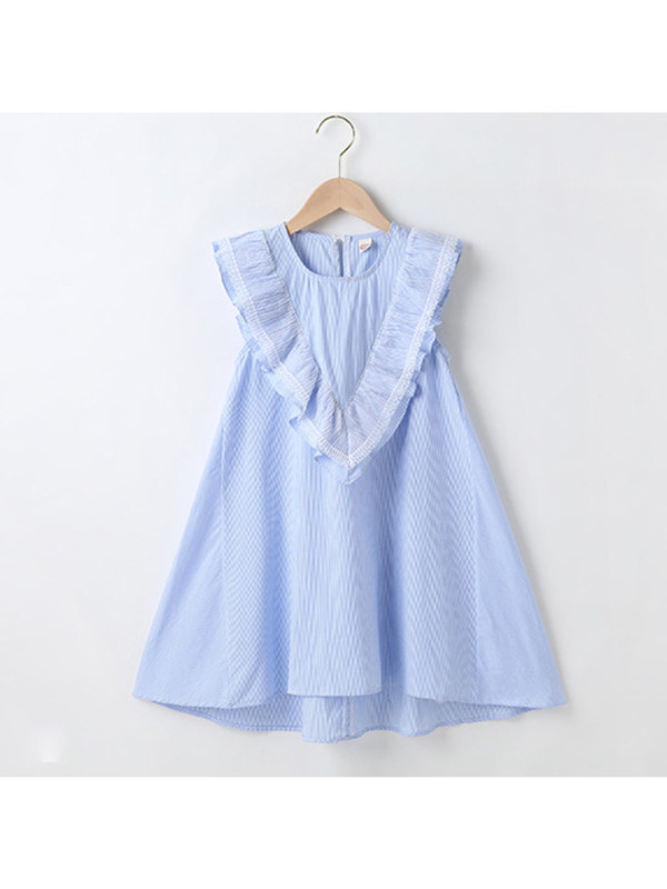 【3Y-13Y】Girls Round Neck Ruffle Dress