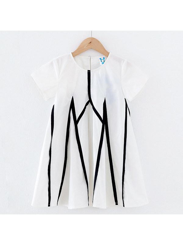 【3Y-13Y】Girls Short-sleeved Contrast Color Stitching Large Skirt Dress