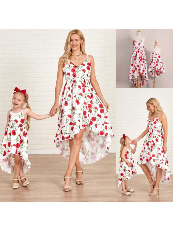 Sling Flower Print Mom Girl Matching Dress - 1363