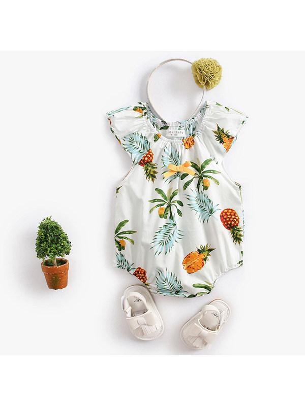 【6M-3Y】Baby Girl Pineapple Print Short-sleeved Jumpsuit