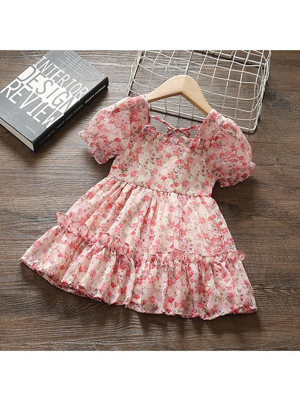 【12M-5Y】Girls Elegant Pink Short-sleeved Flower Dress