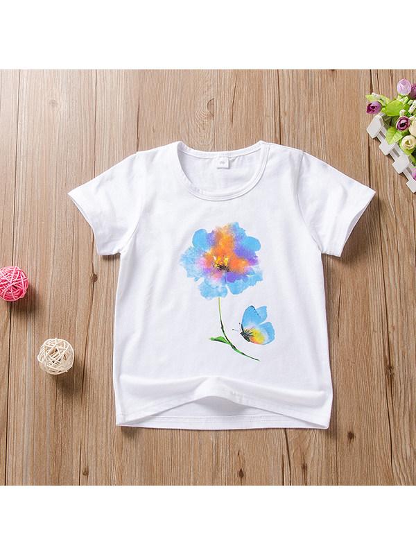 【2Y-7Y】Girls' Solid Color Floral Print Short-sleeved Shirt
