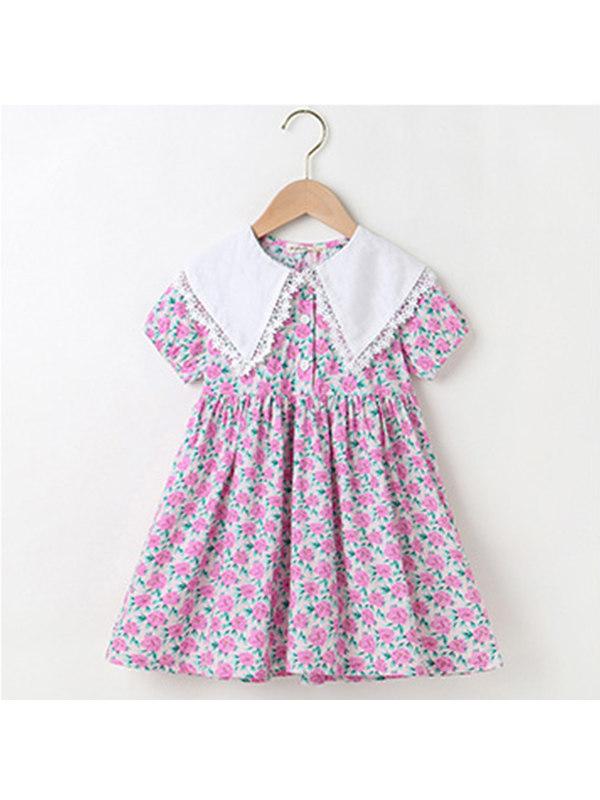 【3Y-13Y】Girls Doll Collar Floral Dress