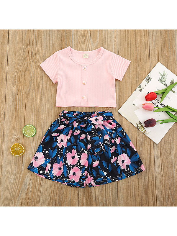 【18M-7Y】Girls' Short-sleeved Blouse And Flower Bow Shorts Two-piece Suit