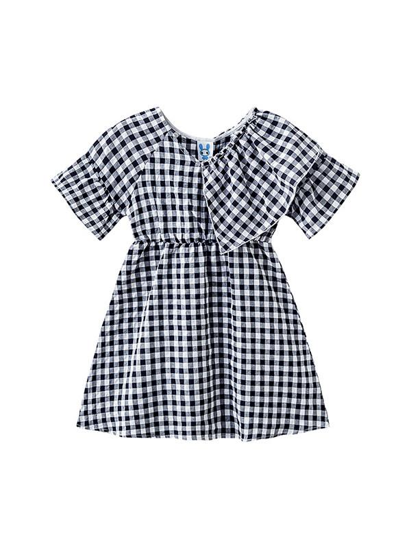 【3Y-13Y】Girls' Plaid Ruffled Cotton Round Neck Short-sleeved Dress