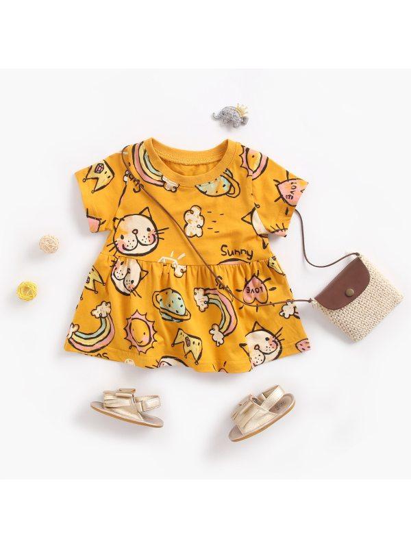 【6M-3Y】Girls Cartoon Print Short Sleeve Dress