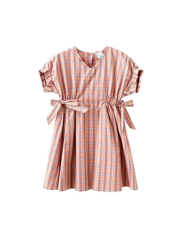 【3Y-13Y】Girls Plaid Round Neck Short Sleeve Princess Dress