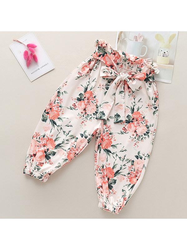 【3Y-13Y】Girls Flower Full Printed Lantern Leisure Pants