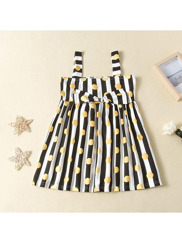 【18M-7Y】Girls Suspenders Round Polka Dot Vertical Stripes Cute Bow Dress