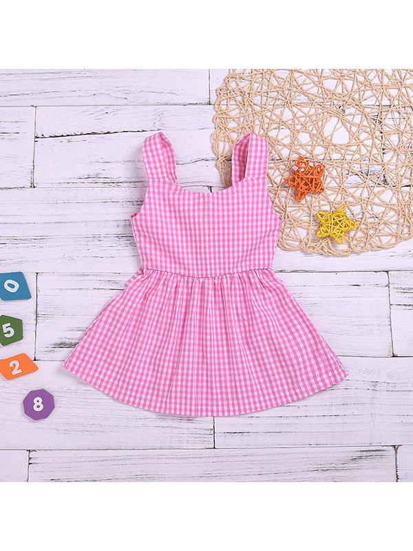 【12M-5Y】Girls Plaid Strap Bow Dress