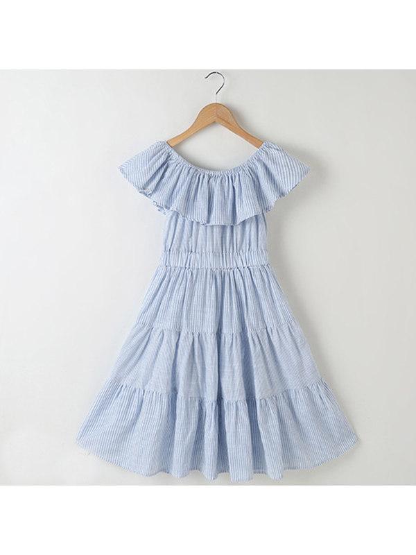【3Y-13Y】Girls One-shoulder Striped Dress