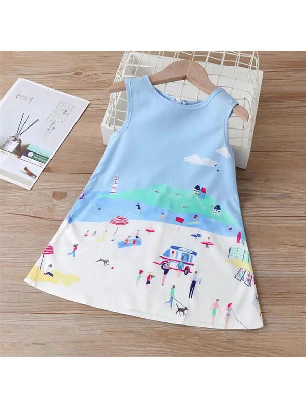 【18M-7Y】Girls Sleeveless Printed Princess A-line Tank Top Dress