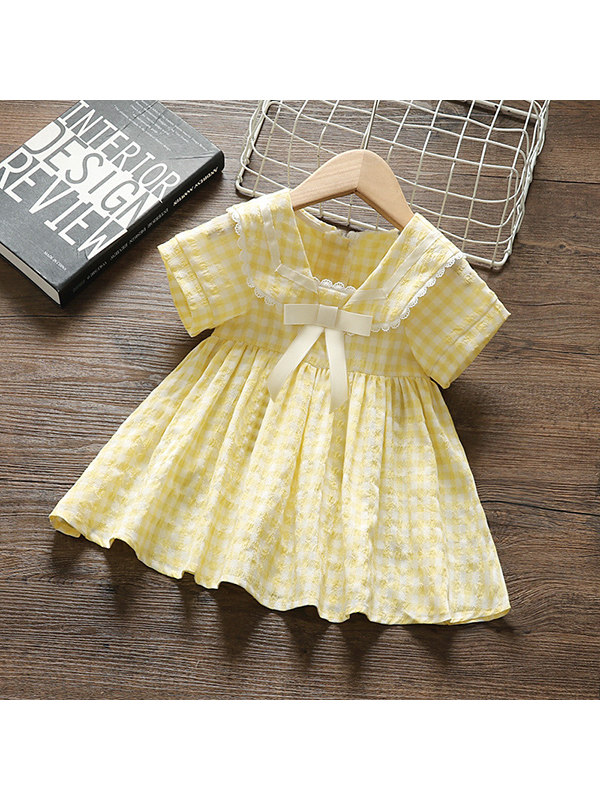 【12M-5Y】Girls Short Sleeve Plaid Dress