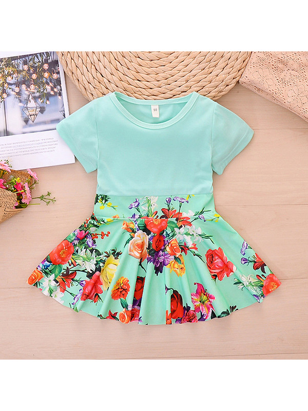 【18M-7Y】Girls Pastoral Style Stitching Floral Dress