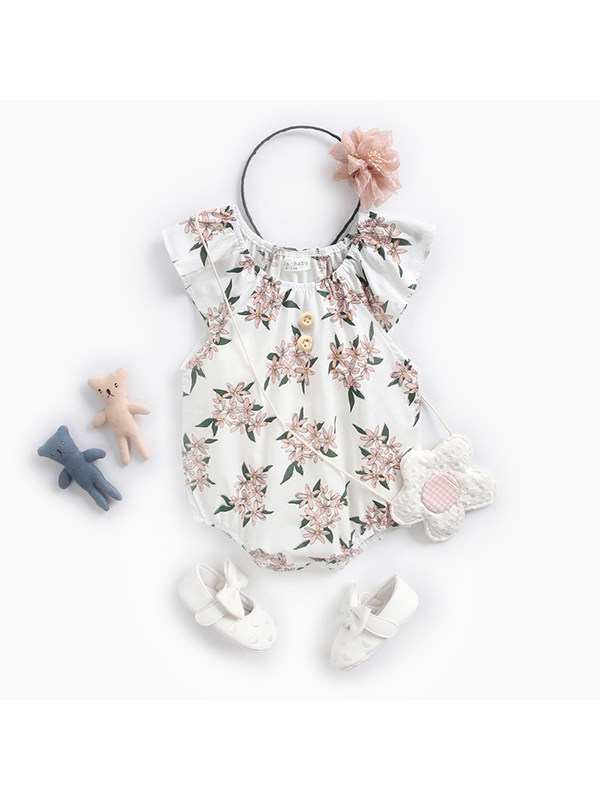 【6M-3Y】Sweet Floral Print Short-sleeved Jumpsuit For Baby Girl