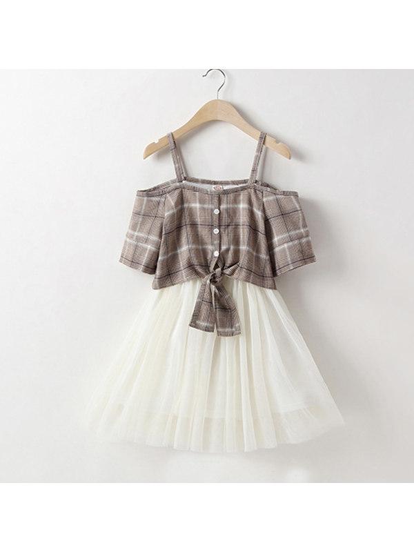 【3Y-13Y】Girls Plaid Sling Dress