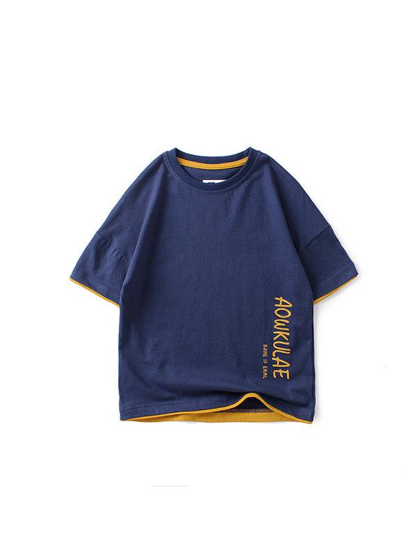 【4Y-13Y】Boys Printed Letters Short Sleeve T-shirt