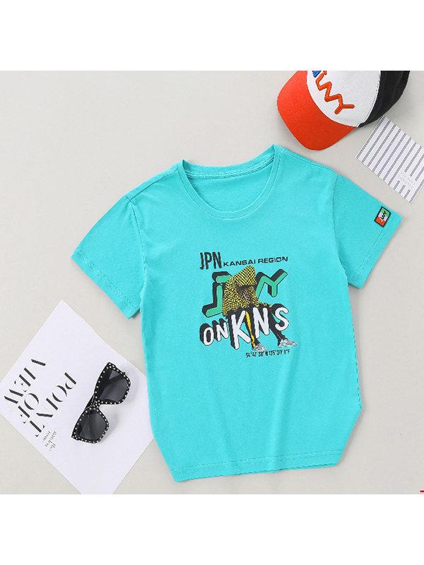 【6Y-15Y】Boy's Letter Print Trend Short Sleeve T-shirt