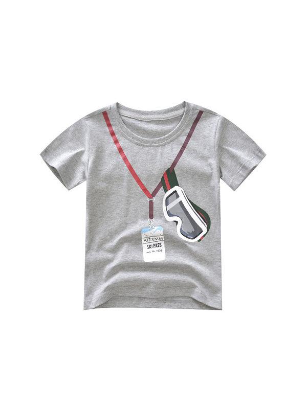 【18M-9Y】Boys' Personality Printing Trend Short-sleeved T Shirt