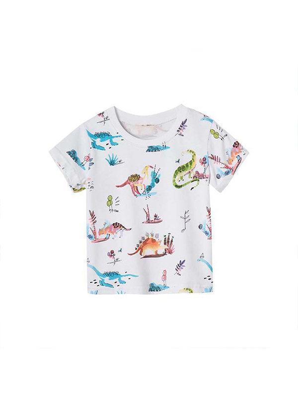 【18M-9Y】Boys' Personality Printing Trend Short-sleeved T-shirt