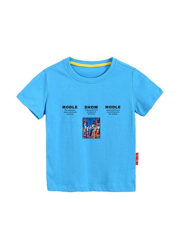 【3Y-11Y】Boy's Letter Print Trend Short Sleeve T-shirt