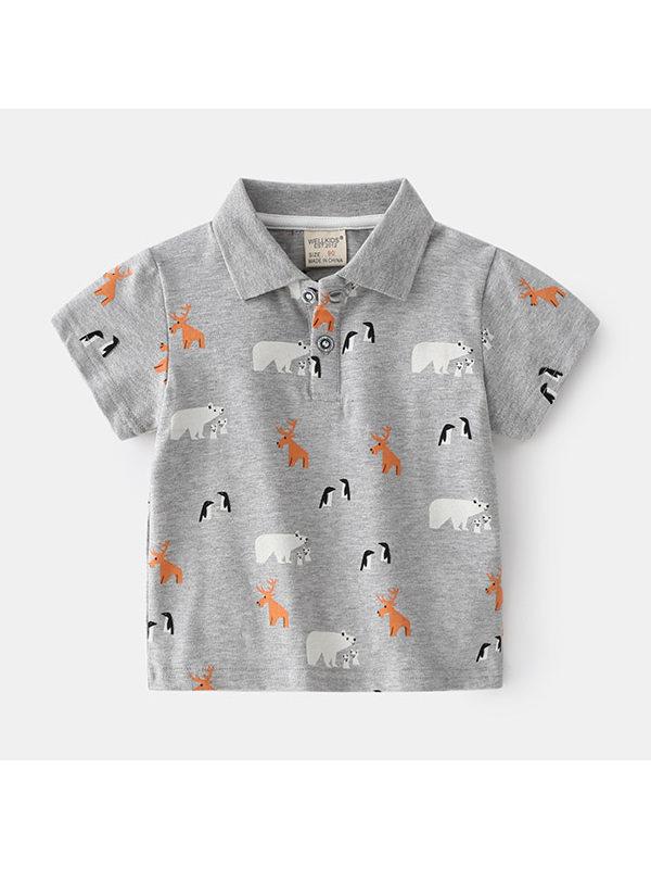 【18M-7Y】Boys Full Print Animal Print Polo Shirt