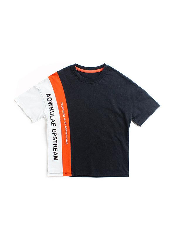 【4Y-13Y】Boys Letter Print Short Sleeve T-shirt