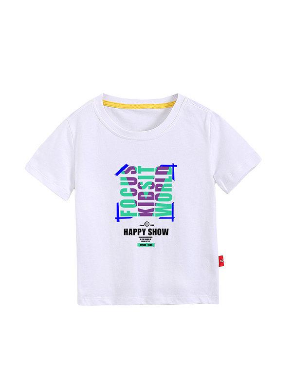 【3Y-11Y】Boys Printed Letters Short Sleeve T Shirt