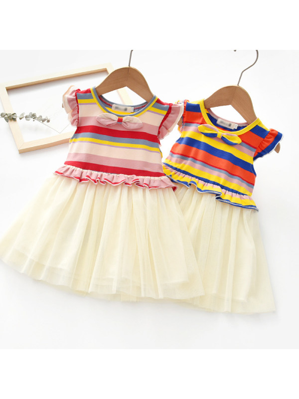 【18M-7Y】Girls Sweet Color Striped Mesh Dress