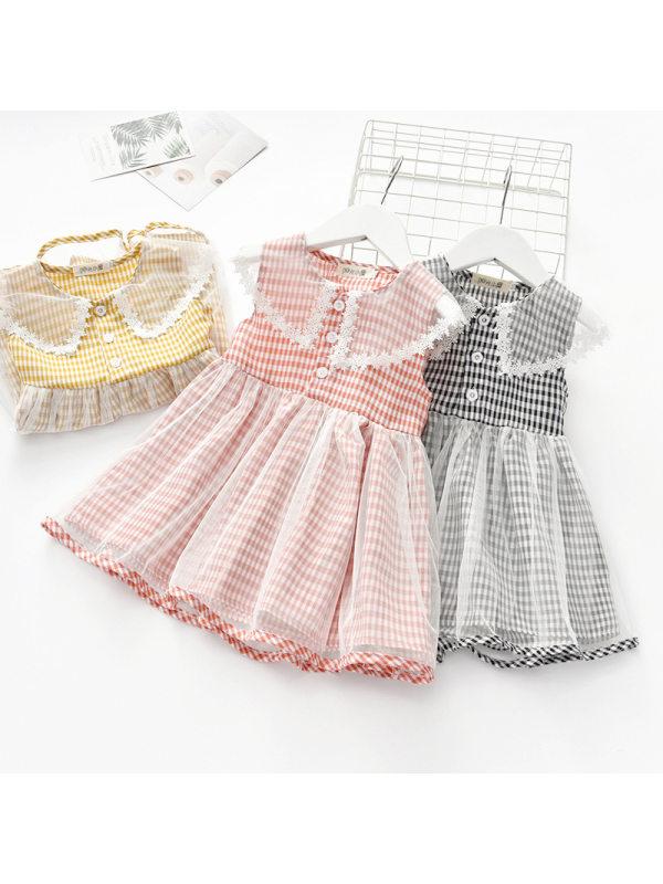 【18M-7Y】Girls Sweet Plaid Lace Lapel Sleeveless Dress