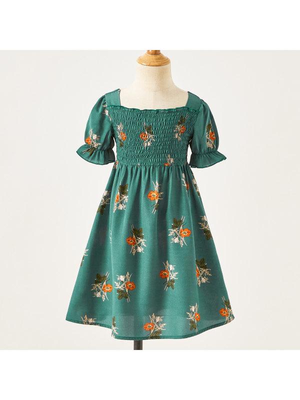 【18M-7Y】Sweet Flower Print Square Neck Puff Sleeve Green Dress