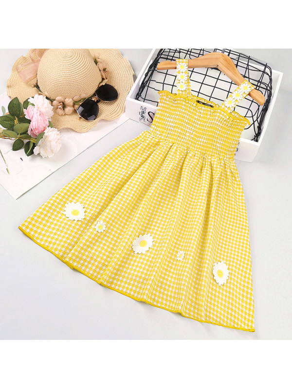 【18M-7Y】Sweet Plaid and Flower Sling Dress