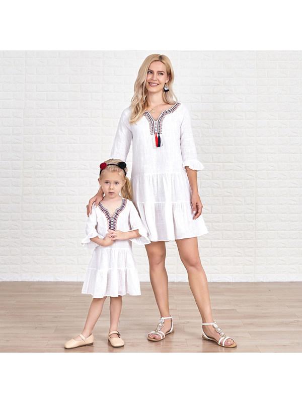 Ruffle Sleeve Tassels Tiered Mom Girl Matching Dress