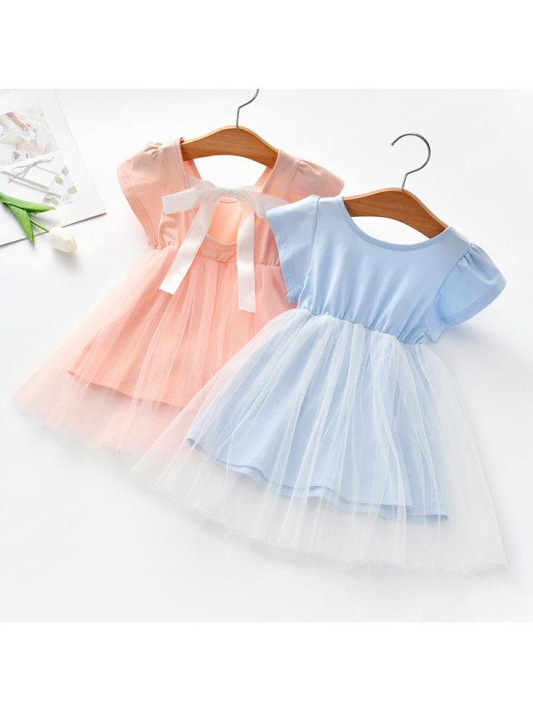 【18M-7Y】Girls Sweet Mesh Short Sleeve Backless Dress