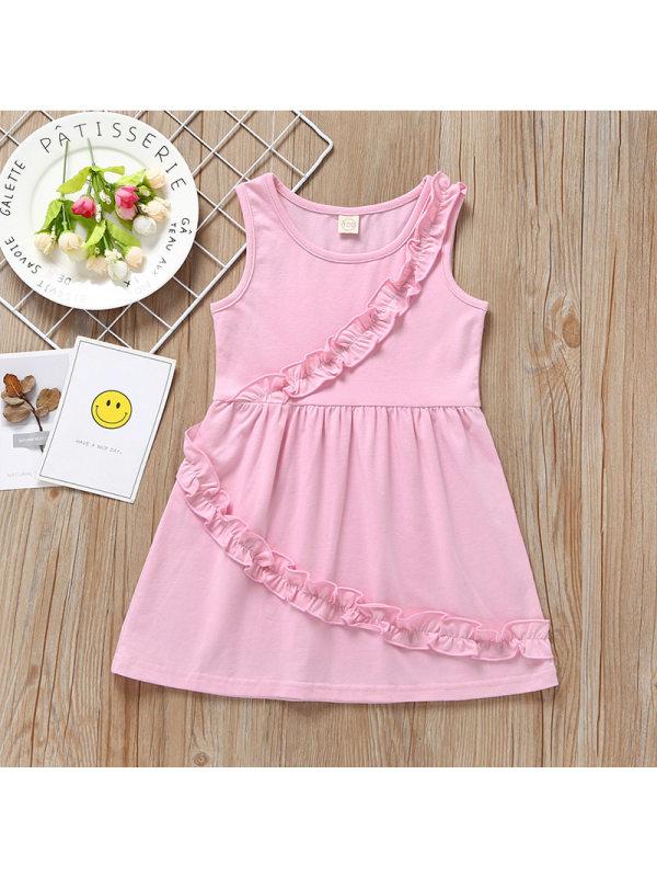 【12M-4Y】Girls Casual Lace Stitching Sleeveless Vest Dress