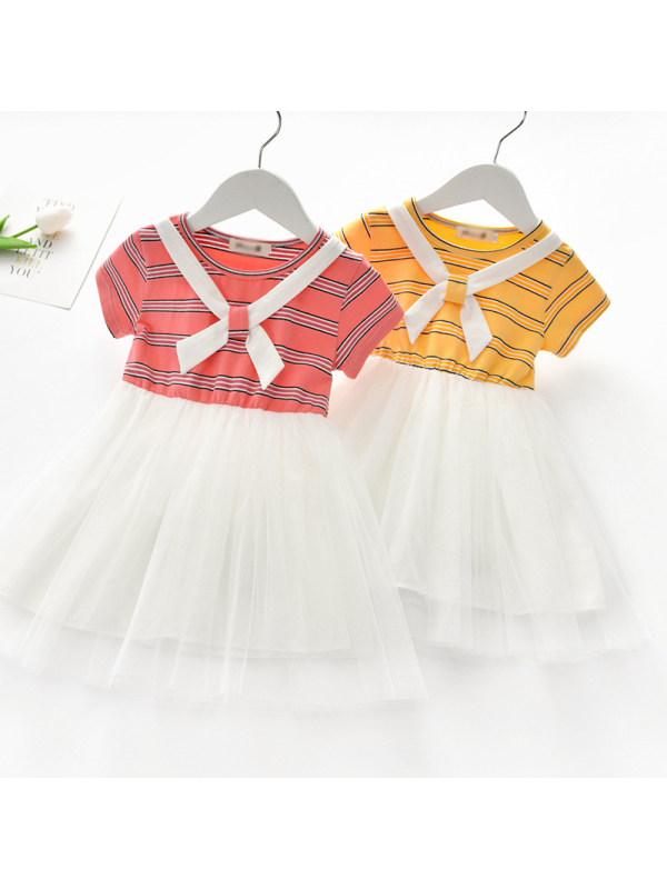 【18M-7Y】Girls Sweet Color Striped Mesh Short Sleeve Dress