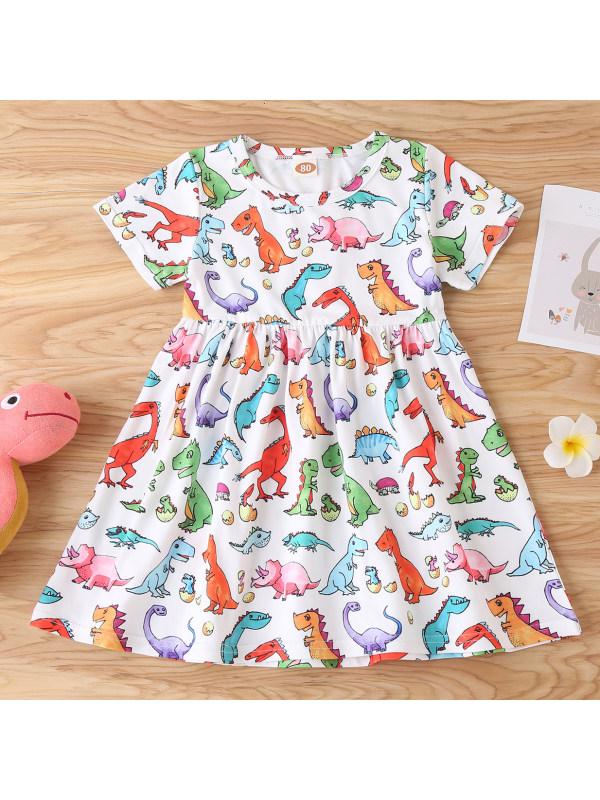 【6M-24M】Cute Cartoon Dinosaur Print Round Neck Short Sleeve Dress
