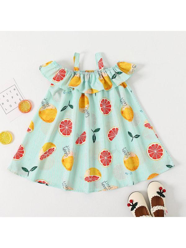 【18M-7Y】Girls Lemon Grapefruit Pattern Camisole Dress