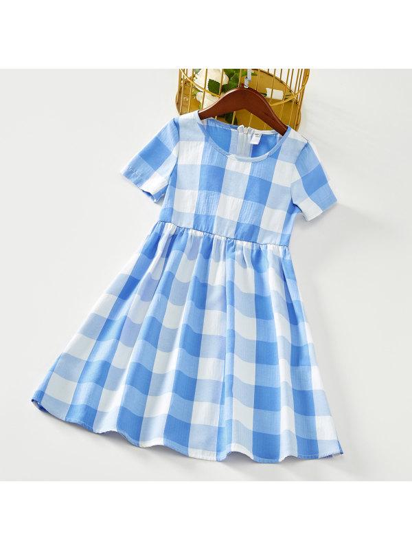 【18M-7Y】Sweet Plaid Round Neck Short Sleeve Blue Dress