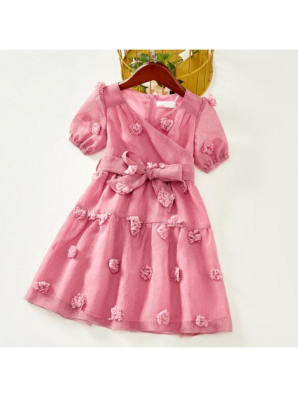 【18M-7Y】Girls Sweet Pink Chiffon Jacquard Short Sleeve Dress