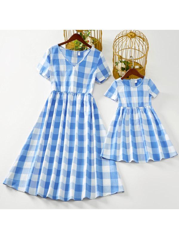 Sweet Blue Plaid Mom Girl Matching Dress - 1399