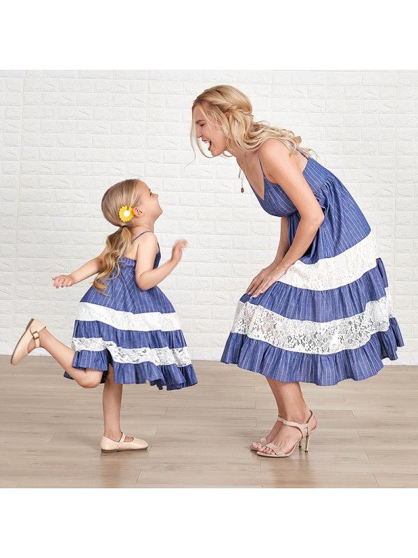 Sweet Blue Stripes Stitching Lace Mom Girl Matching Dress