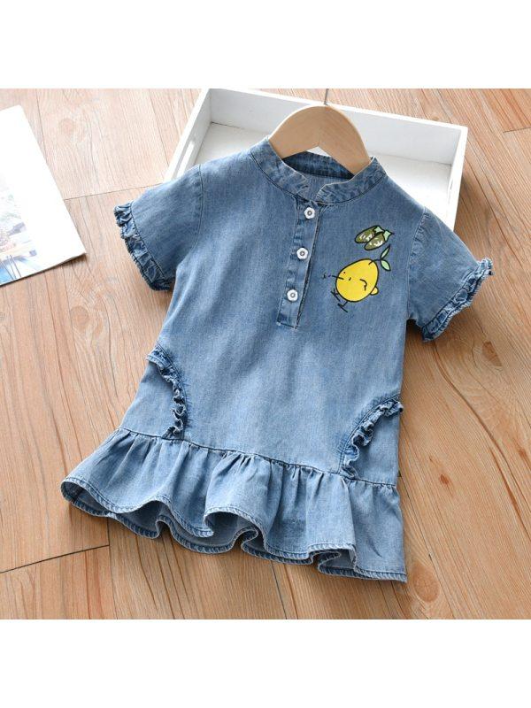 【18M-7Y】Girls Sweet Lemon Pattern Denim Short Sleeve Dress