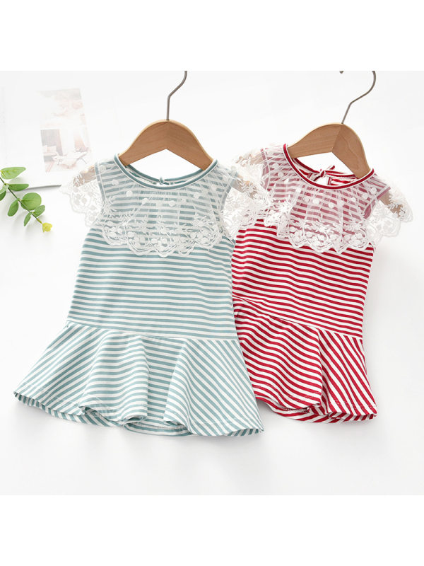 【18M-7Y】Girls Sweet Striped Lace Lapel Sleeveless Dress